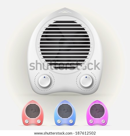 Illustration of heaters. Color modern heaters with two switches. Four isolated illustrations on gray.