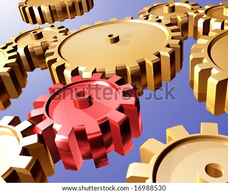 Illustration of highly polished interlocking cogs and gears - stock photo