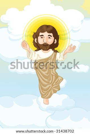 illustration of holy christ on white - stock photo