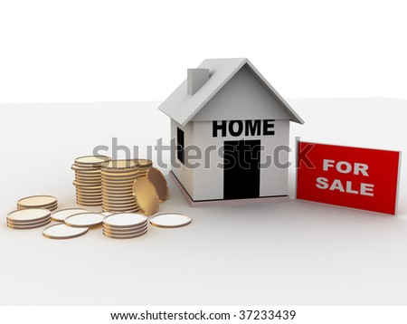 illustration of home for sale frame and coins on the ground