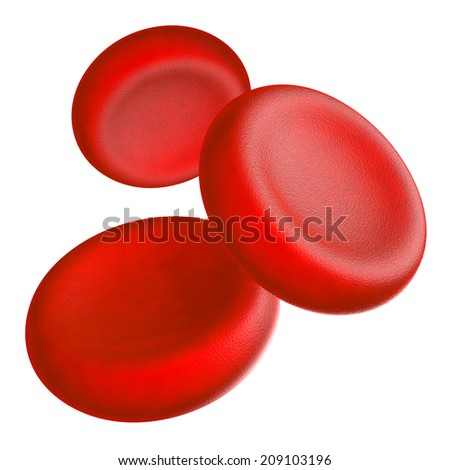 Illustration of human blood cells - isolated on white  - stock photo