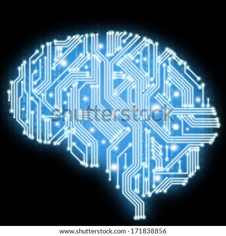 Illustration of human brain in form of circuit board isolated on black background - stock photo