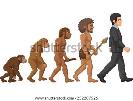 Illustration of human evolution - stock photo