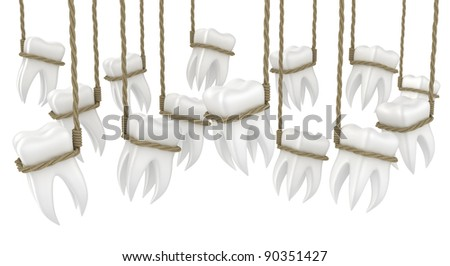 Illustration of human teeth in a loop on a white background
