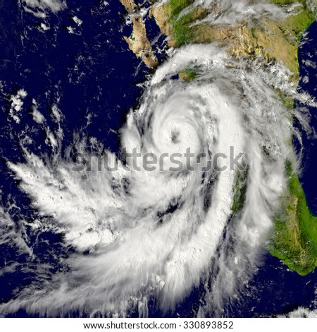 Illustration of hurricane Patricia over the Pacific. Elements of this image furnished by NASA - stock photo