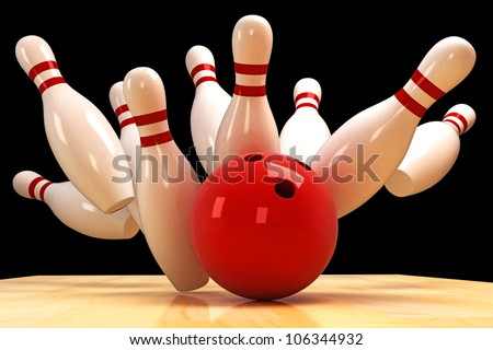 illustration of image of scattered skittle and bowling ball on wooden floor - stock photo