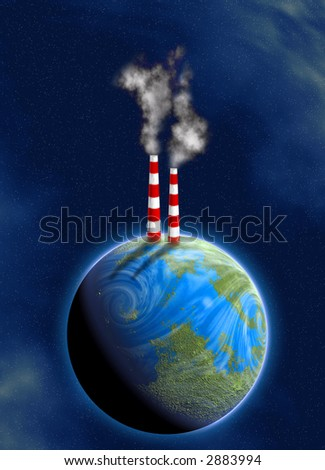 illustration of industrial chimneys on earth surface