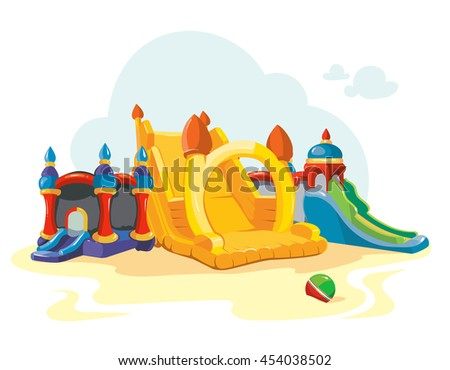 illustration of inflatable castles and children hills on playground. Pictures isolate on white background - stock photo