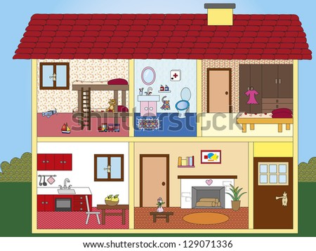 illustration of interior of a house - stock photo