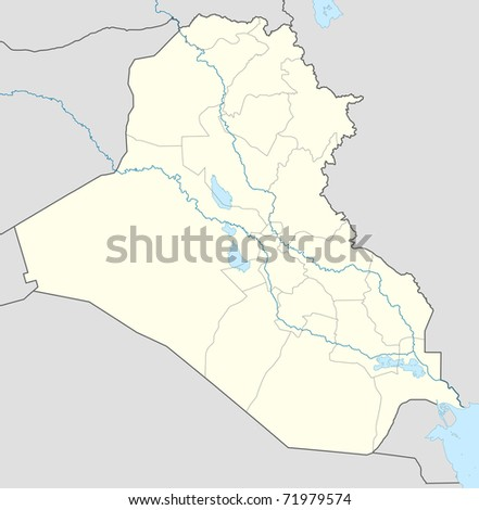 Illustration of Iraq map showing the state borders. - stock photo