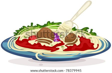 illustration of isolated a plate of spaghetti with fork on white - stock photo
