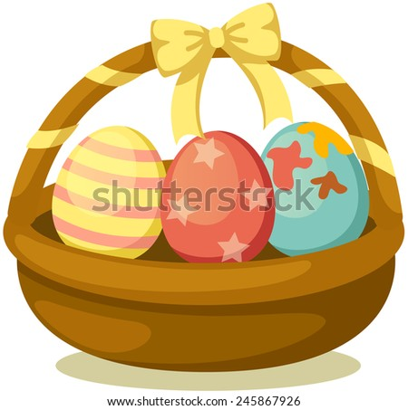 illustration of isolated basket of easter eggs on white  - stock photo