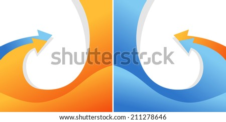 Illustration of isolated bent arrows - stock photo