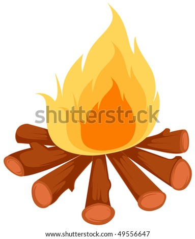illustration of isolated camp fire on white background - stock photo