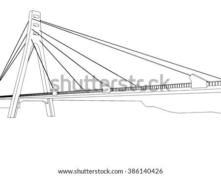 illustration of isolated cartoon bridge on white 3 - stock photo