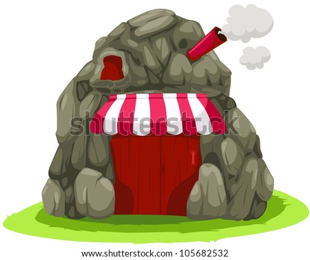 illustration of isolated cartoon cave house on white