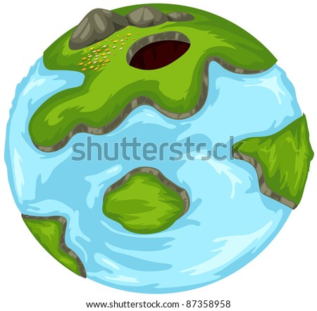 illustration of isolated cartoon globe on white background - stock photo