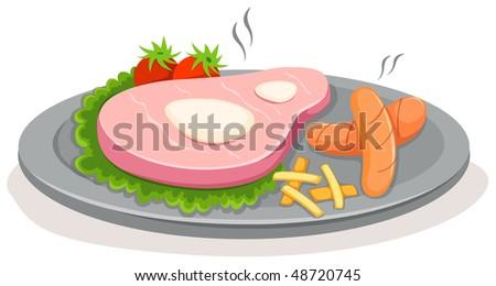 Illustration Of Isolated Cartoon Steak On White Background