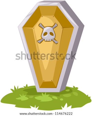 illustration of isolated casket on white background - stock photo
