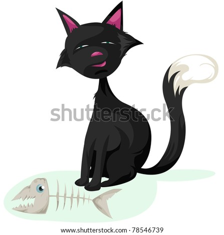 illustration of isolated cat and fish skeleton on white