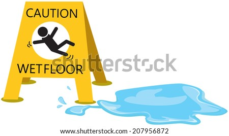 illustration of isolated caution  slippery with drop water - stock photo