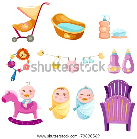 illustration of isolated colorful baby set on white background - stock photo