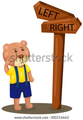 illustration of isolated cute bear lost direction  - stock photo