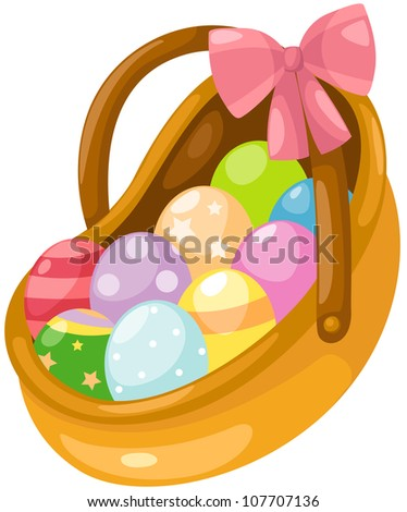 illustration of isolated easter eggs in basket on white - stock photo