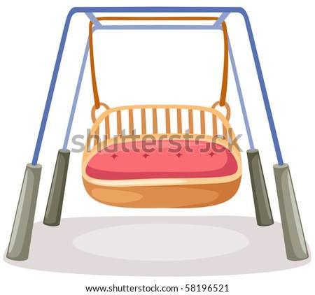 illustration of isolated empty swings on white background - stock photo
