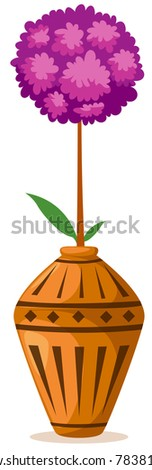 illustration of isolated flowers ball in vase on white background - stock photo