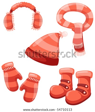 illustration of isolated girl accessories winter set - stock photo