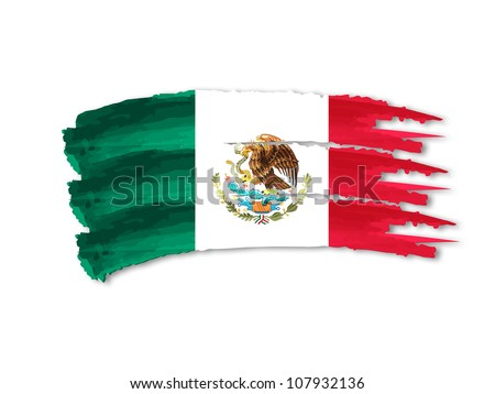Illustration of Isolated hand drawn Mexican flag - stock photo