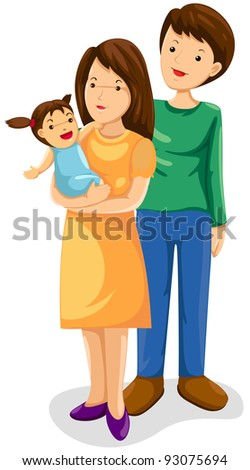 illustration of isolated parents with their new born baby on white - stock photo