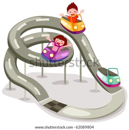 illustration of isolated roller coaster ride on white background - stock photo