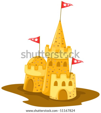 illustration of isolated send castle on white background - stock photo
