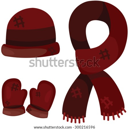 illustration of isolated set of accessories winter clothing  - stock photo