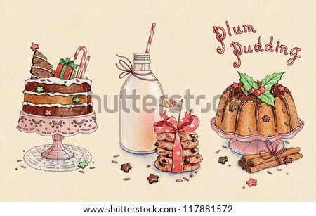 illustration of isolated set of Christmas desserts/bakery - stock photo