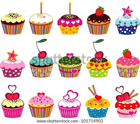illustration of isolated set of cupcake on white background - stock photo
