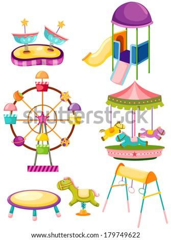 illustration of isolated set of playground on white - stock photo