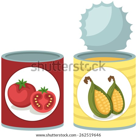 illustration of isolated tin can tomato and corn soup