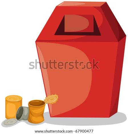illustration of isolated trash bin on white background - stock photo
