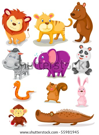 illustration of isolated wild animals set on white background - stock photo