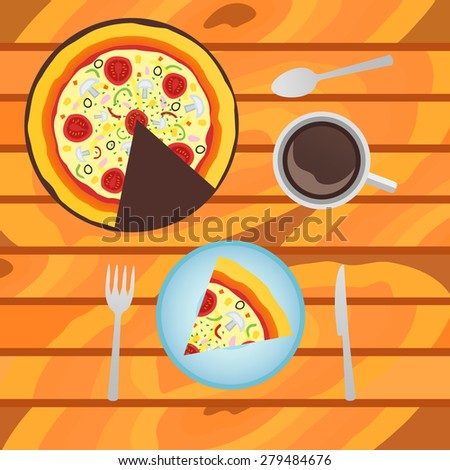 Illustration of italian pizza with cup of coffee on wood background. Top view. - stock photo