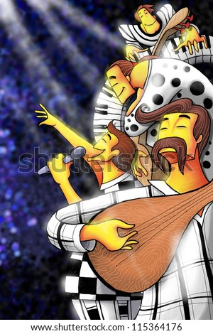 illustration of Jazz band celebrating life - stock photo
