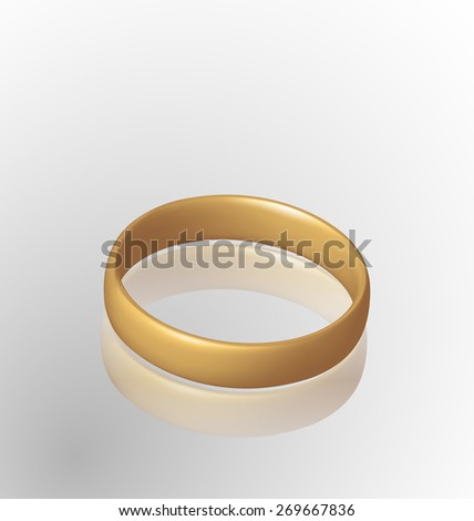 Illustration of jewelry golden ring with reflection - raster - stock photo