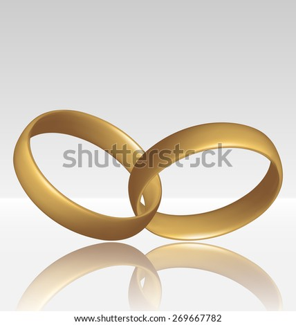 Illustration of jewelry two golden ring - raster - stock photo
