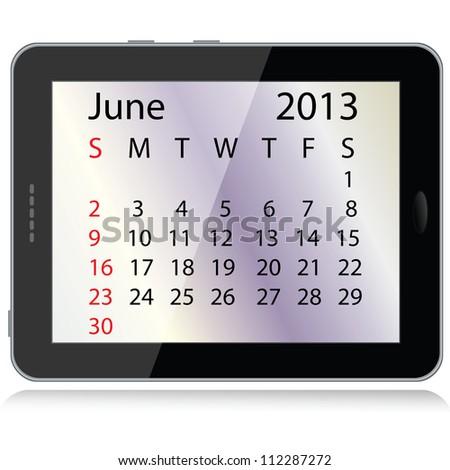 illustration of june 2013 calendar framed in a tablet pc. - stock photo
