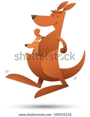Illustration of kangaroo jumping - stock photo