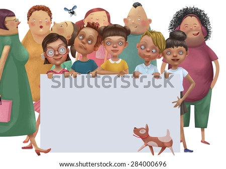 illustration of kids and adults behind white empty placard - stock photo