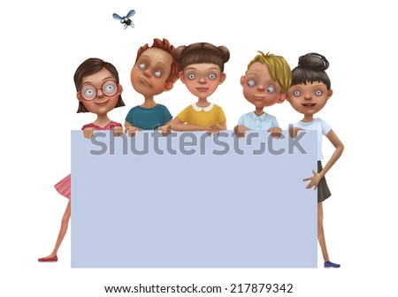 illustration of kids behind white empty placard - stock photo